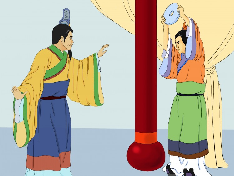 Lin Xiangru holds the jade over his head