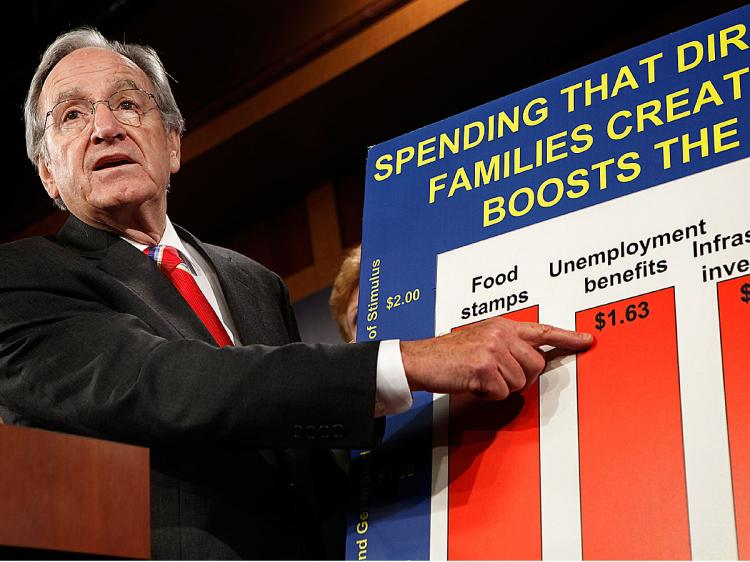 Sen. Tom Harkin talks about extending unemployment benefits during a news conference with fellow Senate Democrats at the U.S. Capitol October 20, 2009 in Washington, DC. (Chip Somodevilla/Getty Images)