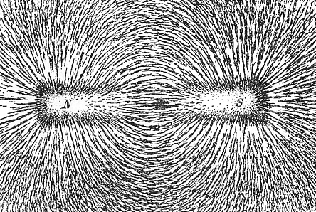 The magnetic field of a bar magnet revealed by iron filings on paper.  (Newton Henry Black)