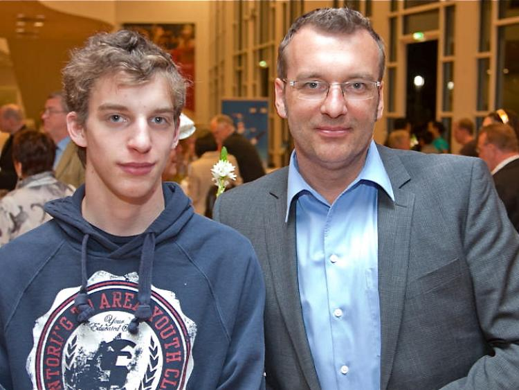 Editor in Chief Martin Schechler and son at Shen yun Performing Arts in Ludwigsburg, Germany.. (Jason Wang/The Epoch Times)