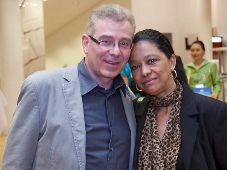 Frank and Angela Eckhardt in the lobby of the Forum am Schlosspark, in Ludwigsburg, Germany. (Jason Wang/The Epoch Times)
