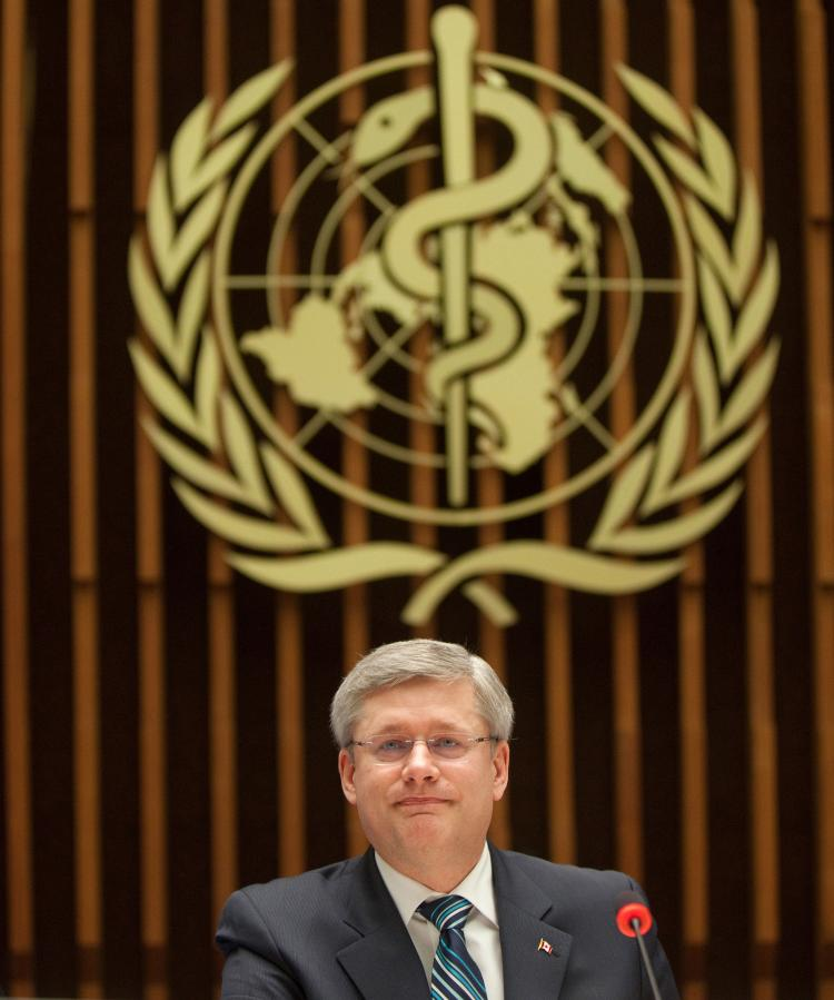Prime Minister Stephen Harper speaks at a meeting of the United Nations Commission on Information and Accountability for Women's and Children's Health. (PMO Photo by Jason Ransom)