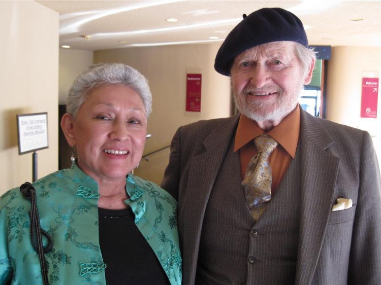 Retired teachers Rachel Raddox (L) and Mark Briggs attended Shen Yun in San Jose, California.  (Gary Wang/The Epoch Times)