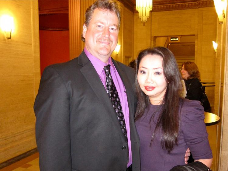 Kirk Strebel and his wife Wei Lei attended Shen Yun Performing Arts' show at the Civic Opera House on April 22. (Valerie Avore/The Epoch Times)