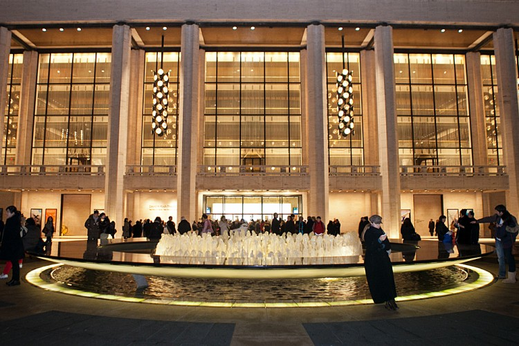 People wait around the fountain at Lincoln Center for the opening of Shen Yun