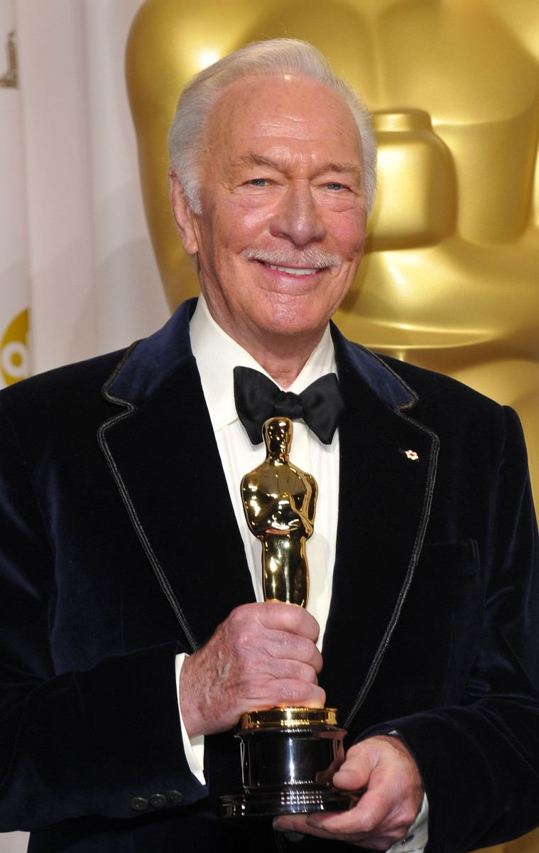 Christopher Plummer holds his Oscar for Best Actor in a Supporting Role