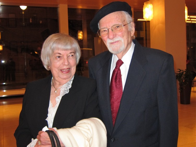 Betty Cleary accompanied by her husband, Gerard Cleary
