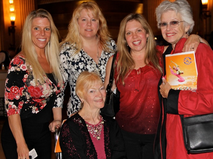 (L to R) Julia Sandabar, Sasha Schmidt, Linda Whitney, Kim Jennings and Michelle Whitney attend Shen Yun