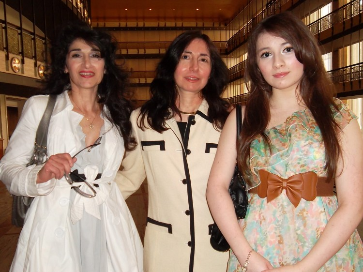 Vivian Wong (R), a singer, and her two aunts after seeing Shen Yun