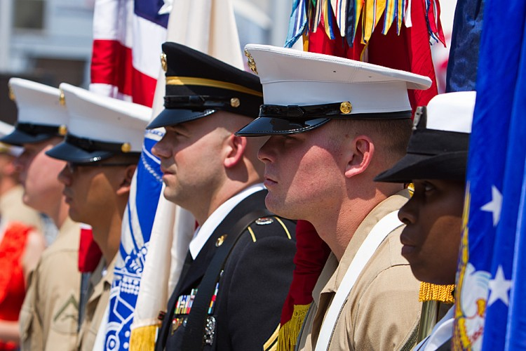 Military personnel standing at attention for the Memorial Day service