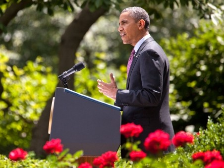President Obama delivers remarks on his new immigration policy at the Rose Garden on Friday, June 15