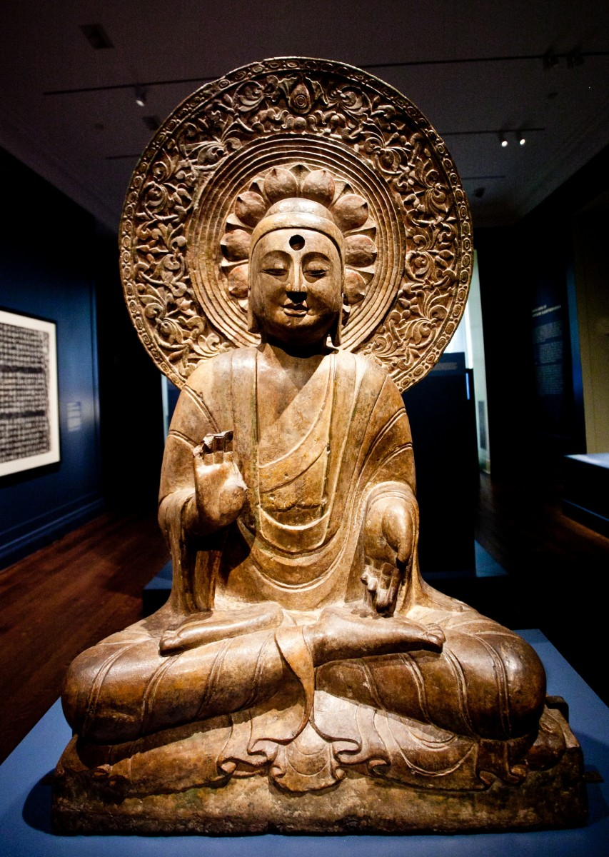 A seated Buddha with an elaborate halo embellished with floral and vegetal motifs is on exhibition at the Institute for the Study of the Ancient World (ISAW) at New York University from Sept. 11 through Jan. 6, 2013.