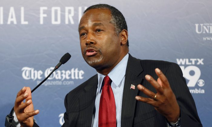 "FILE - In this Monday, Aug. 3, 2015, file photo, Republican presidential candidate and retired neurosurgeon Ben Carson speaks during a forum, in Manchester, N.H. Responding to a question during an interview broadcast Sunday, Sept. 20, 2015, on NBC's ""Meet the Press,"" Carson, a devout Christian, said Islam is antithetical to the Constitution and he doesn't believe that a Muslim should be elected president. (AP Photo/Jim Cole, File)"