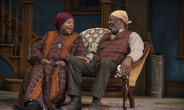 """Jacqueline Williams as Aunt Ester, a woman of 285 years, and Alfred Wilson as Solly Two Kings in August Wilson's """"Gem of the Ocean.""""  (Michael Brosilow)"""