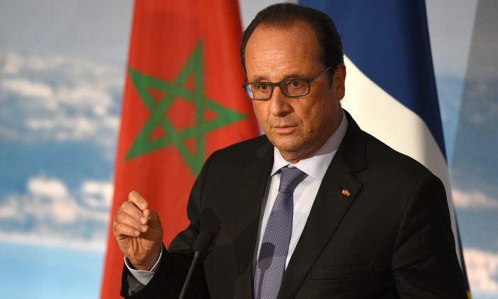 French President Francois Hollande at a press conference at the Tanger-Med port, in the northeastern Moroccan coastal city of Tangier, on Sept. 20, 2015. (Fadel Senna/AFP/Getty Images)