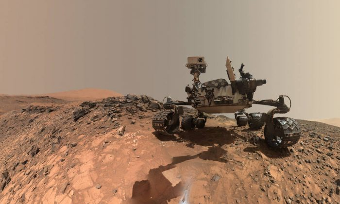 "A ""selfie"" taken by  NASA's Curiosity Mars on  lower Mount Sharp, Mars. (NASA)"