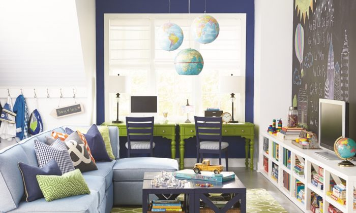 A family room styled for children to do homework or relax while reading a book or watching TV. (Courtesy of Bassett Furniture)