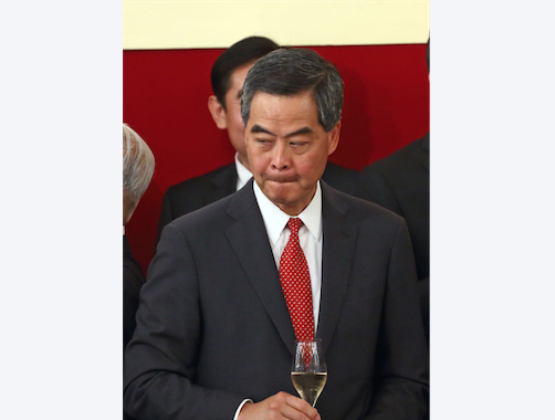 Beijing Official Zhang Xiaoming says that HK Chief Executive Leung Chun-ying has a special legal status that is above the executive, legislature and judiciary branches. Photo of Leung was taken on Sept. 14, 2015. (Epoch Times)