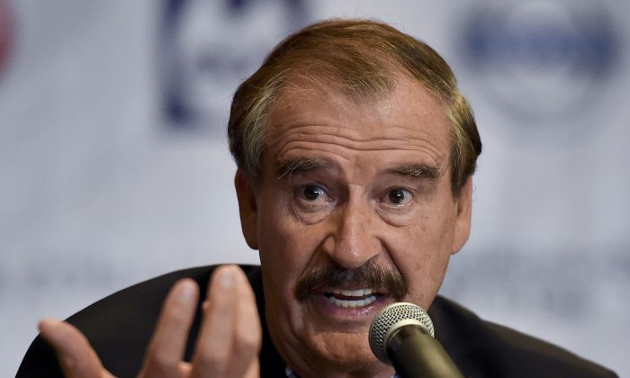 Former Mexican President Vicente Fox (2000-2006) during a briefing with international press at a hotel in Mexico City on Sept. 22, 2014. (Yuri Cortez/AFP/Getty Images)