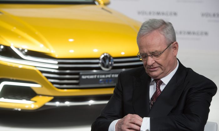 Martin Winterkorn during the anual press conference of Volkswagen AG in Berlin on Sept. 23, 2015. (Jochen Luebke/dpa via AP)