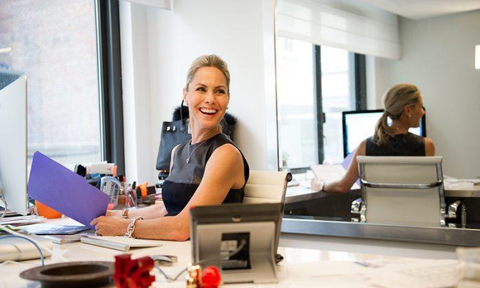 Suelyn in her office in New York. Suelyn is wearing a Proenza Schouler top.