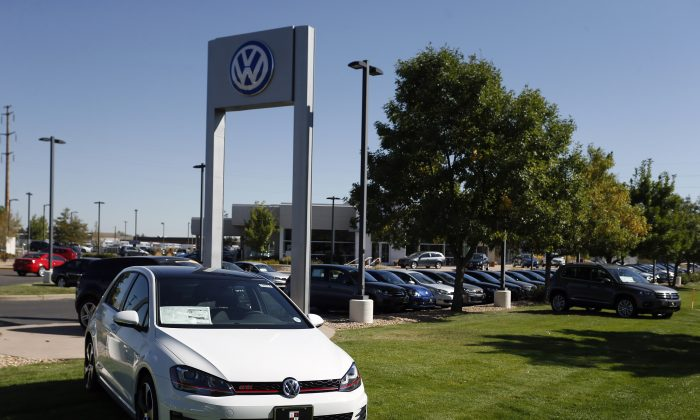 Volkswagens are on display on the lot of a VW dealership in Boulder, Colo., Thursday, Sept. 24, 2015. Volkswagen is reeling days after it became public that the German company, which is the world's top-selling carmaker, had rigged diesel emissions to pass U.S. tests. (AP Photo/Brennan Linsley)