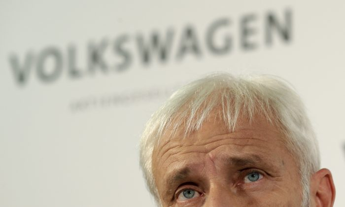 Newly appointed Volkswagen CEO Matthias Mueller speaks during a press statement after a meeting of Volkswagen's supervisory board in Wolfsburg, Germany, Friday, Sept. 25, 2015, after CEO Martin Winterkorn resigned on Wednesday amid an emissions scandal. (AP Photo/Michael Sohn)