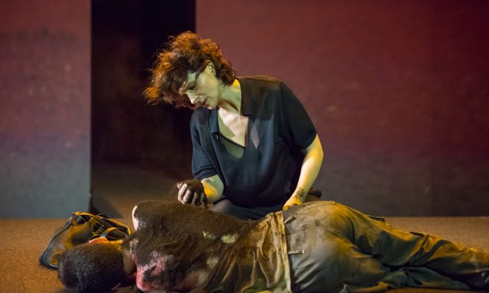 Antigone (Juliette Binoche) giving her brother burial rites, although forbid to do so by her uncle the king. What is the price for doing what one believes to be right? (Stephanie Berger)