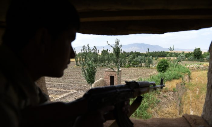 In this photograph taken on May 23, 2015, an Afghan Local Police (ALP) member keeps watch in Kasab village in Kunduz. (Shah Marai/AFP/Getty Images)