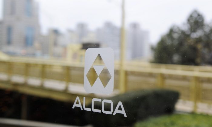 An Alcoa logo in Pittsburgh, Pennsylvania on a file photo. (Jeff Swensen/Getty Images)