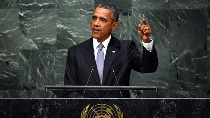 US President Barack Obama addresses the 70th Session of the UN General Assembly at the United Nations in New York on September 28, 2015. (Timothy A. Clary/AFP/Getty Images)