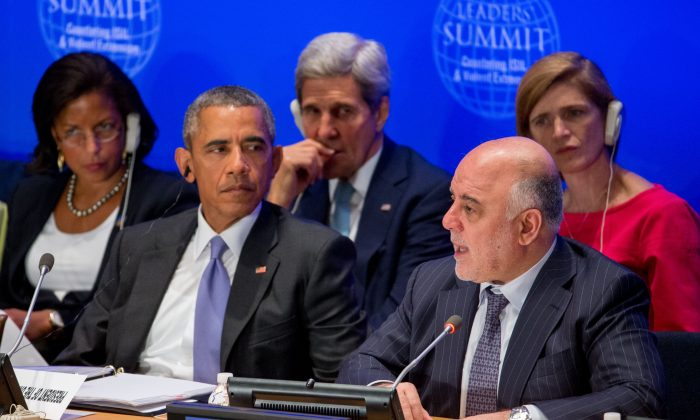 President Barack Obama, accompanied by, rear, from left, National Security Adviser Susan Rice, Secretary of State John Kerry, and U.S. Ambassador to the United Nations Samantha Power, right, listens as Iraqi Prime Minister Haider al-Abadi, second from right, speaks at the Leaders' Summit on Countering ISIL and Countering Violent Extremism, Tuesday, Sept. 29, 2015, at the United Nations headquarters. (AP Photo/Andrew Harnik)