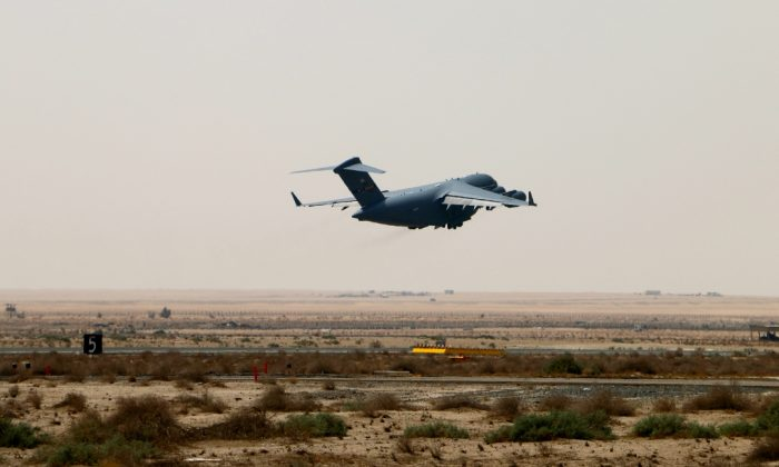 An Air Force C-17 takes off from an undisclosed base in the Persian Gulf region. (Nolan Peterson/The Daily Signal)