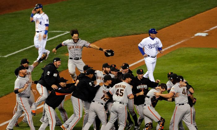 The San Francisco Giants won their third World Series title in five years in 2014, despite not having homefield advantage in the NLDS, NLCS, or World Series. (Doug Pensinger/Getty Images)
