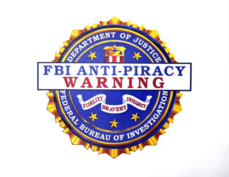 The FBI anti-piracy seal that is currently displayed on digital and software intellectual property to combat digital piracy.  (David McNew/Getty Images)