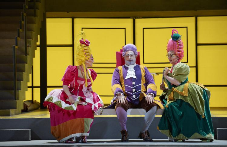 (L-R) Rihab Chaieb as Tisbe, Donato DiStefano as Don Magnifico and Ileana Montalbetti as Clorinda in the Canadian Opera Company production of 'La Cenerentola' (Cinderella), 2011. (Michael Cooper)