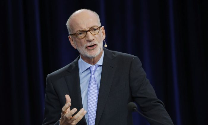 Hubert Lacroix, president and CEO of CBC/Radio Canada, speaks at the CBC's annual public meeting at the University of Winnipeg on Sept. 29, 2015. (The Canadian Press/John Woods)