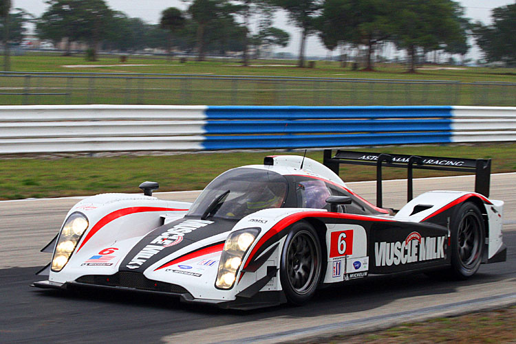Muscle Milk Pickett Racing is trading in this Lola Aston Martin it raced in 2011 for an HOPD-ARX03a. Drivers will again be Lucas Luhr and Klaus Graf, with Simon Pagenaud added for Sebring. (James Fish/The Epoch Times)