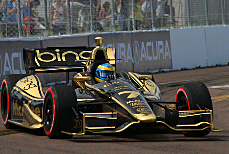 Sébastian Bourdais' Dragon Racing Lotus needed and engine change after the Alabama Grand Prix; he incurred the 10-place penalty. (James Fish/The Epoch Times)