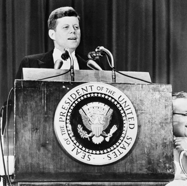 File Photo of Former President John F. Kennedy during a speech as he is invited by the American newspapers chairman association at the Waldorf Astoria hotel in New York city, April 27 1961. (Getty Images)
