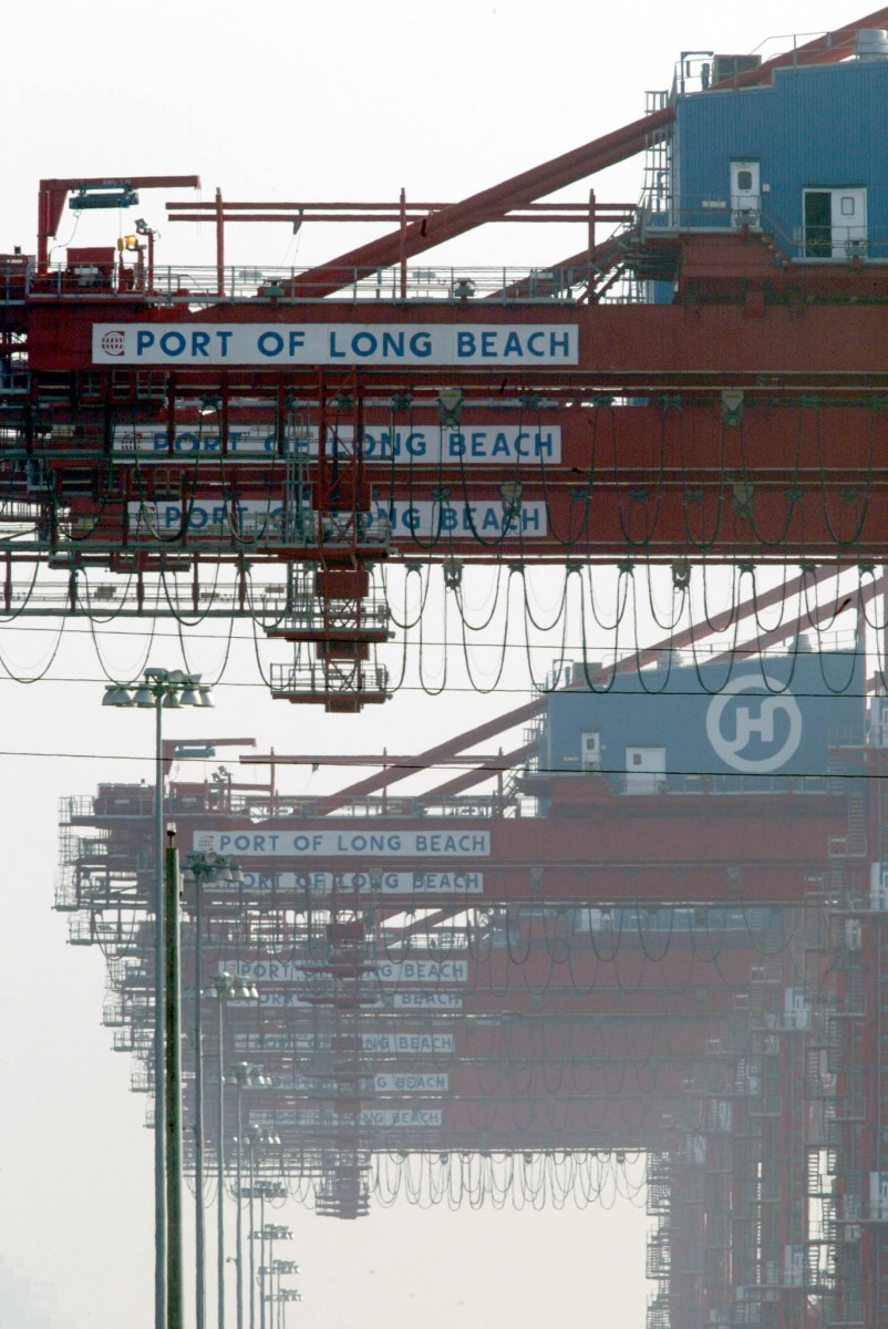 Cranes at the Port of Los Angeles in Long Beach. The combined LA/Long Beach Seaport is the eighth-largest port complex in the world. The number of containers coming and going through the seaport exceeded 38,000 per day in 2011. (Photo HECTOR MATA/AFP/Getty Images)
