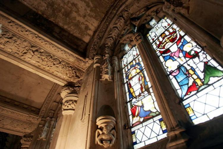 Intricate carvings and stained glass windows of Rosslyn Chapel are pictured on April 22, 2005 in Roslin, Scotland. (Christopher Furlong/Getty Images)