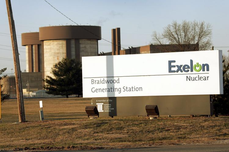 The Exelon nuclear power generating station in Braidwood, Illinois. Exelon, Toshiba, and Shaw signed a deal to pursue several nuclear power contracts in Saudi Arabia.   (Scott Olson/Getty Images)