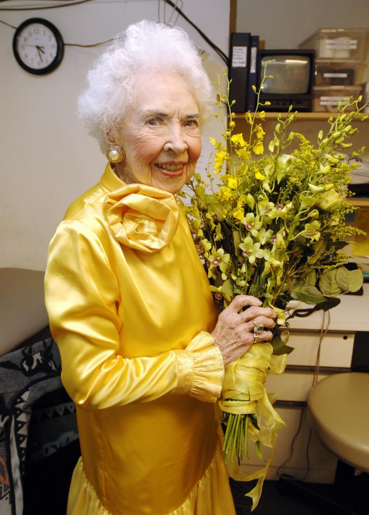 Doris Eaton Travis, shown here as 102 years old, in her dressing room at the New Amsterdam Theater in  April 2006. Travis passed away this Tuesday at the age of 106, she was the last of the Ziegfeld Follies showgirls.  (Stan Honda/Getty Images)