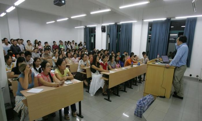 Chung To, gives a class at Fudan University in Shanghai, China on Sept. 7. 2006. Plagiarism has become a serious problem at Chinese Universities. (China Photos/Getty Images)