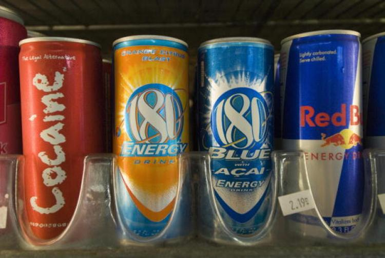 Cans of energy drinks are displayed in a store in San Diego, California in November 2006. (Earl S. Cryer/AFP/Getty Images)