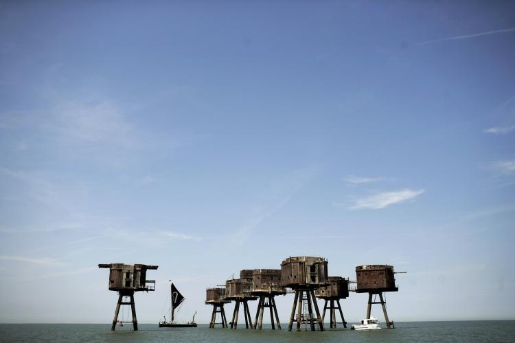 General view of Redsand towers on June 30, 2006 in Whitstable, England. The Redsand Towers, coded 'Uncle 6' during WW2, were built to protect supply ships from the German magnetic influence mines. The forts succeeded in shooting down 22 planes and 30 flying bombs. (Bruno Vincent/Getty Images)