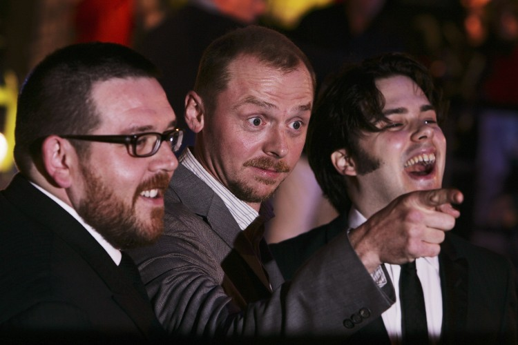 "Actors Nick Frost, Simon Pegg and director Edgar Wright attend the premiere of ""Hot Fuzz"" in 2007 in London (Chris Jackson/Getty Images)"