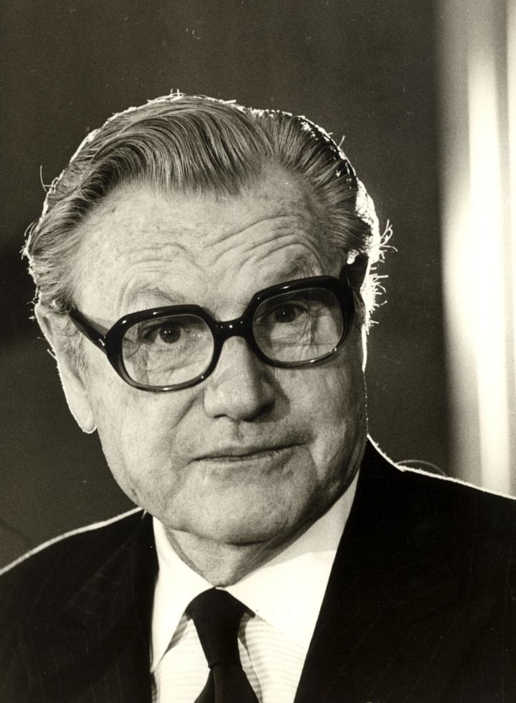 Nelson Rockefeller holds a press conference at the American Embassy in Paris, France, March 22, 1976.   (Liaison Agency/Getty Images )