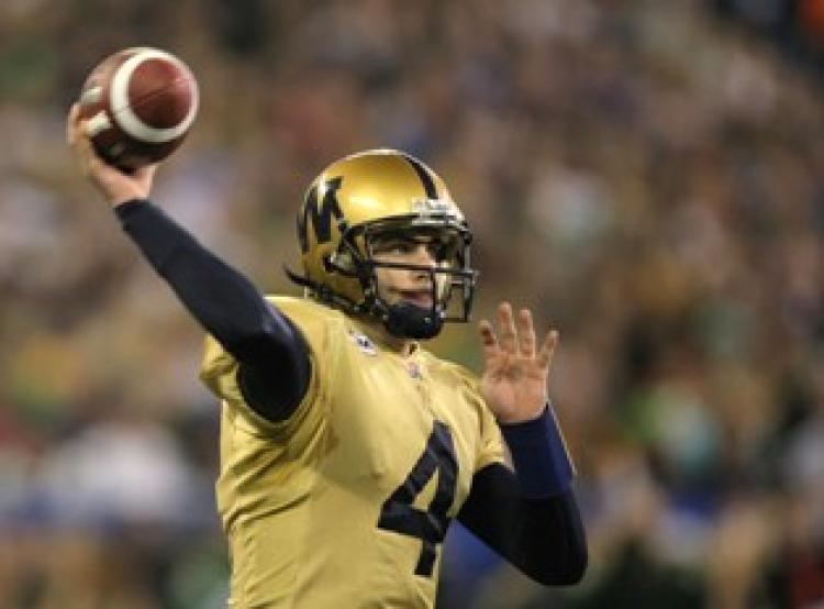Ryan Dinwiddie 4 of the Winnipeg Blue Bombers in Toronto, Ontario, Canada.  (Harry How/Getty Images)